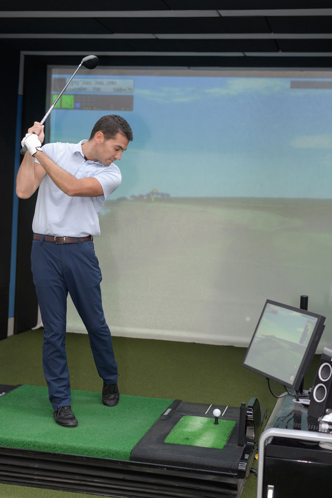 Practice your swing at an indoor golf simulator.​ Great for the chillier months where you still want to keep your skills sharp!